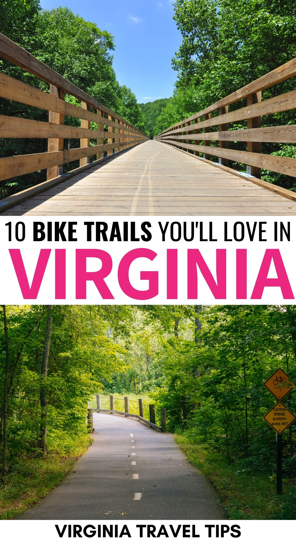 Are you looking for the best Virginia bike trails for an upcoming trip? This guide shows you some of the best bike trails in Virginia and where they are located. | Virginia biking | Virginia trails | Virginia nature | Virginia creeper trail | Mount Vernon Trail | Best of Virginia | Virginia is for lovers | Things to do in Virginia