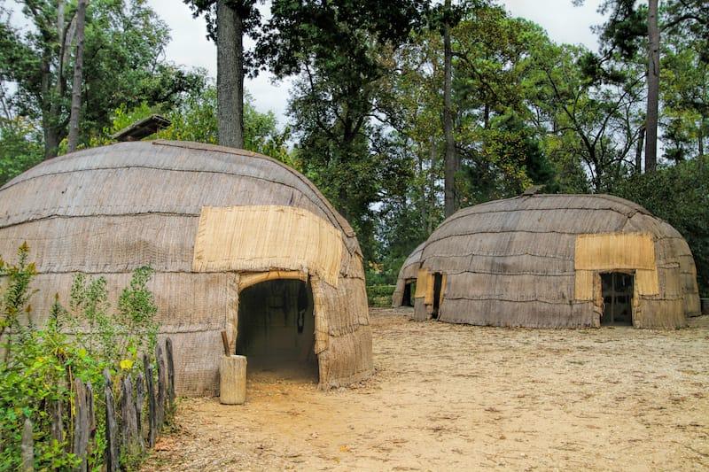 Native American huts in Jamestown, VA