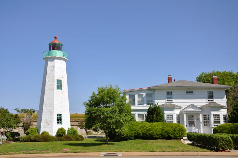 Old Point Comfort Lighthouse and keeper's quarters in Fort Monroe, Chesapeake Bay