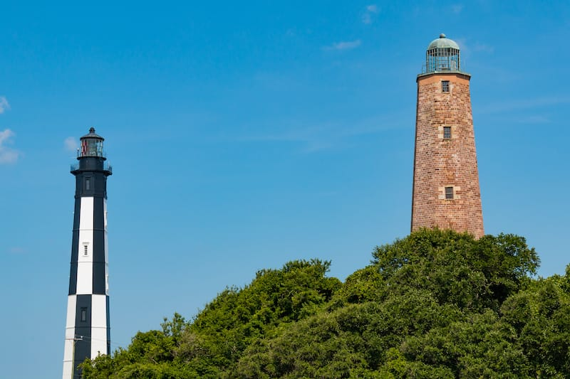 Old and New Cape Henry Lighthouses in VA