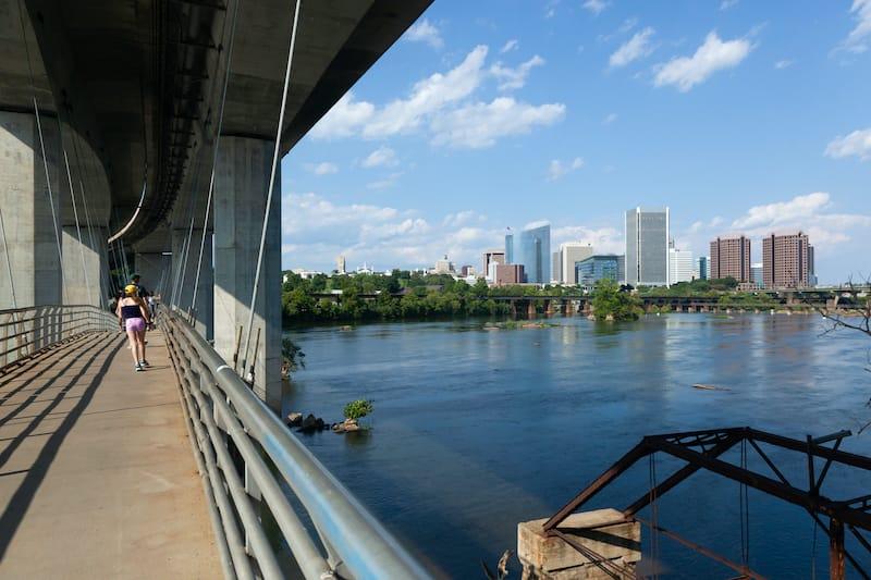Suspension bridge James River in Richmond