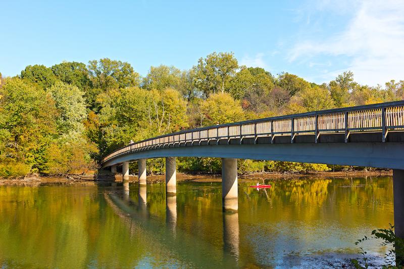 Footbridge bridge to the Theodore Roosevelt Island in Washington DC Arlington access