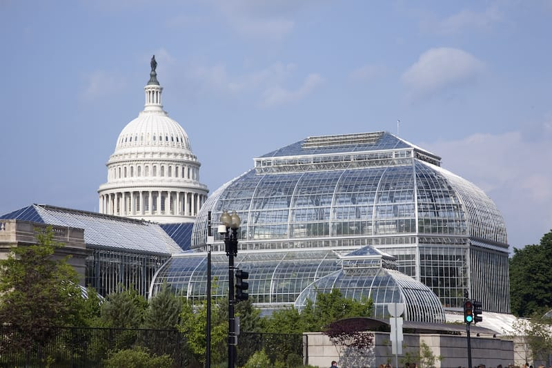 U.S. Botanic Gardens with U.S. Capitol in background