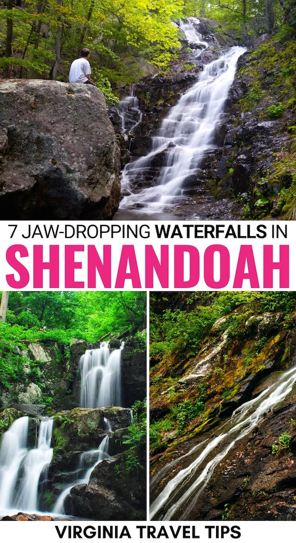There are some jaw-dropping waterfalls in Shenandoah National Park and these are some of our favorites! Click to learn more! | Shenandoah National Park waterfalls | Shenandoah National Park hiking | Hikes in Shenandoah National Park | Shenandoah National Park trails | Shenandoah waterfall hikes | Waterfall hikes in Shenandoah National Park | Naked Creek Falls | Dark Hollow Falls | Doyles Falls | Rose River Falls | South River Falls | Overall Run Falls | Jones Run Falls