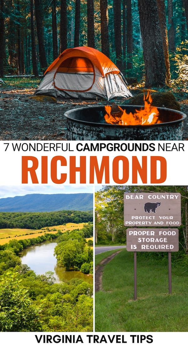 Looking for the best campgrounds near Richmond VA to head to for the weekend? These are our favorite places to go camping near Richmond - click to learn more! | Richmond camping | Camping Richmond | Richmond Campgrounds | Pocahontas State Park camping | Lake Anna State Park camping | First Landing State Park camping | Westmoreland State Park camping | RV park Richmond | Camping in Virginia | Shenandoah River State Park camping | Shenandoah National Park camping | VA camping