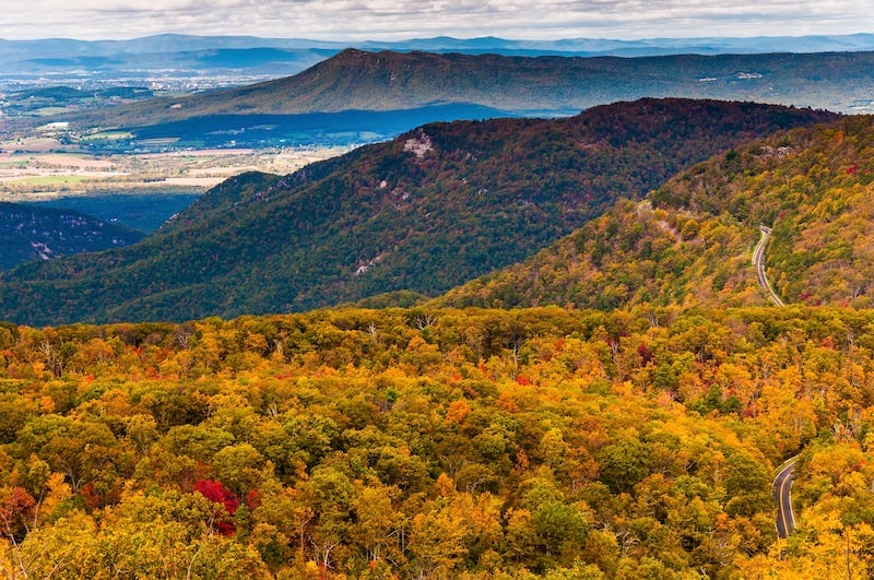 Autumn view of the Appalachians from Loft Mountain