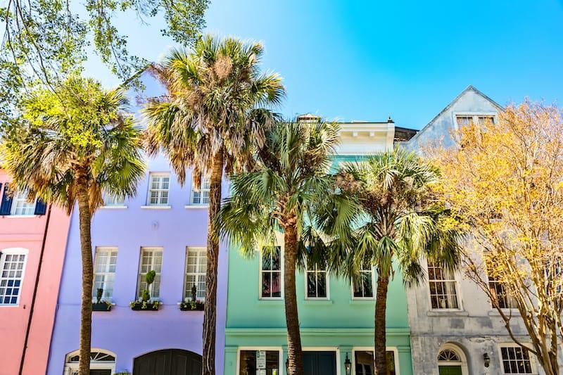 Charleston South Carolina colorful buildings
