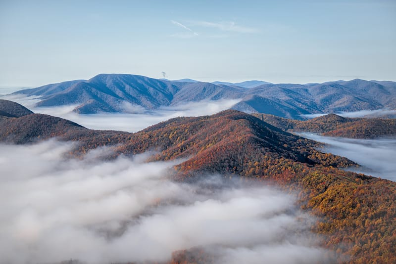 Fog over Wintergreen Virginia