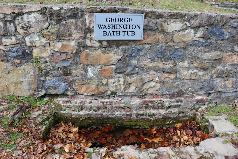 George Washington natural spring water bathtub at a park in Berkeley Springs, WV