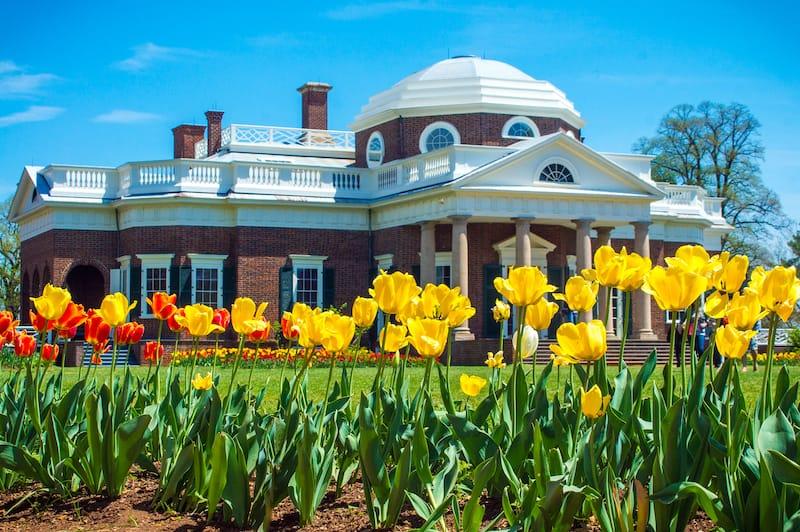 Monticello in spring in Virginia