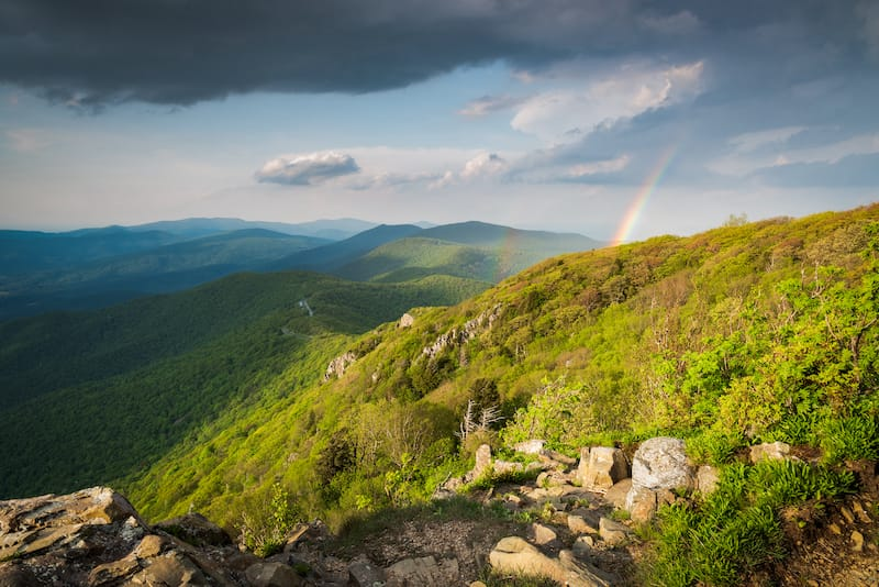 Rainbow over Shenandoah National Park in spring