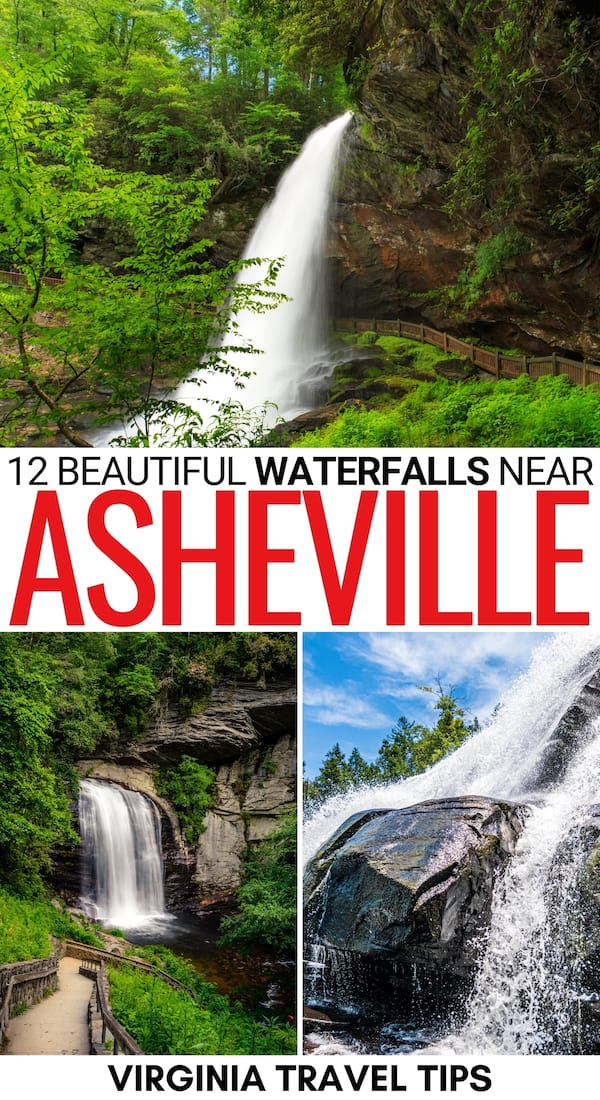There are many incredible waterfalls near Asheville NC that you can visit. This list rounds up some of the BEST Asheville waterfalls - and includes a map! | Asheville waterfall hikes | Waterfall hikes near Asheville | Best waterfalls in Asheville | North Carolina waterfalls | Asheville things to do | Things to do in Asheville | Places to visit near Asheville | Waterfalls near Brevard | Western North Carolina waterfalls | Blue Ridge Parkway waterfalls | Waterfalls in North Carolina