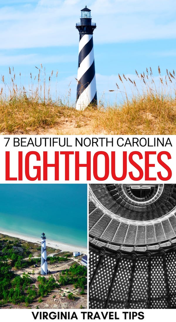 If you love lighthouses as much as I do, then you will love this guide to the best lighthouses in North Carolina! We detail each and tell you how you can visit! | North Carolina lighthouses | East Coast lighthouses | USA lighthouses | Ocracoke lighthouse | Bodie Island lighthouse | Nags Head lighthouse | Oak Island Lighthouse | Old Baldy Lighthouse | Hatteras lighthouse | Currituck lighthouse | Cape Lookout lighthouse | North Carolina Beaches | Outer Banks lighthouses
