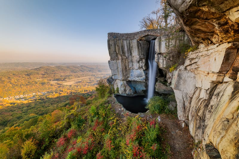 High Falls and Lovers Leap in Rock City in Lookout Mountain