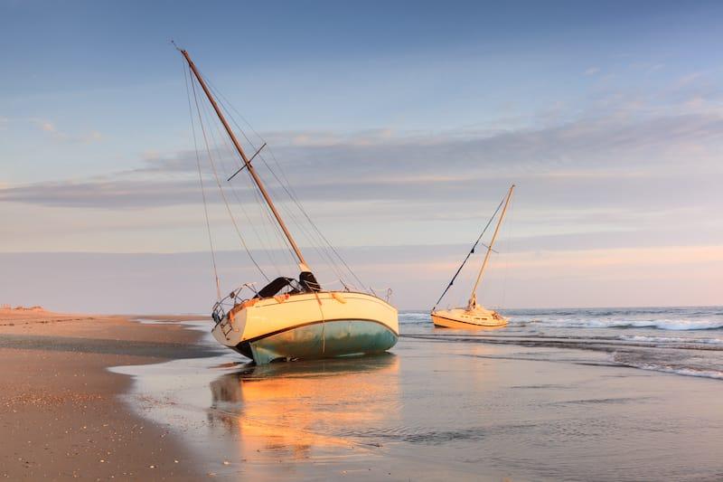 Shipwrecked boats on Cape Hatteras National Seashore