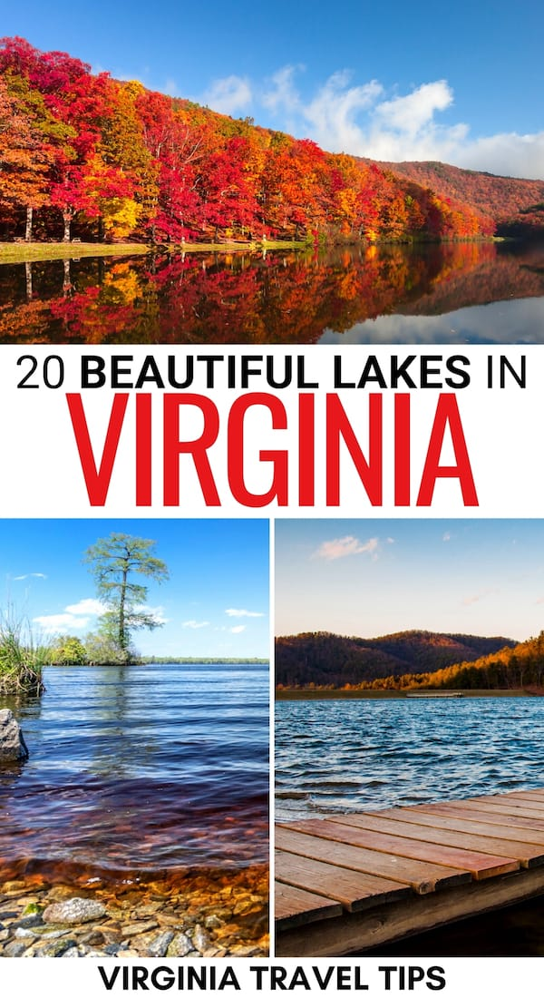 Looking for some beautiful lakes in Virginia for a relaxing weekend trip? This guide contains the best Virginia lakes - click to see which ones we picked! | Places to visit in VA | VA lakes | Lakes in VA | Best things to do in Virginia | Smith Mountain Lake Virginia | What to do in VA | VA things to do | Hiking in Virginia | State parks in VA | Virginia itinerary